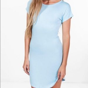 Blue curved-hem t-shirt dress